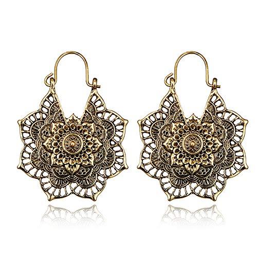 Shuda 1 Paar modische Ohrringe im Vintage-Stil mit Blumen-Anhänger für Frauen und Mädchen, Accessoires, Schmuck Geschenk, Legierung, Gold, 3.1 * 3.9cm