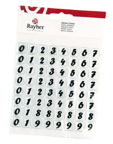 RAYHER hobby 3358900 chiffres autocollants classique, autocollant, 64 pièces
