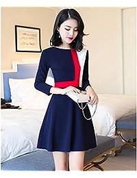 kekafu La Mujer va Vestido de una línea Simple,Bloque de Color por Encima de