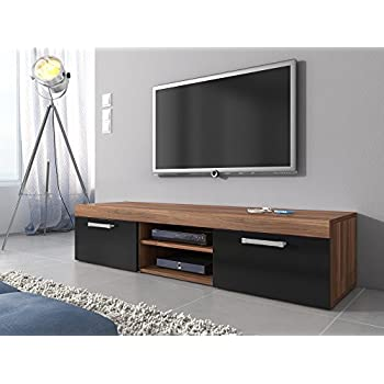 meuble tv armoire support mambo noyer noir 160 cm cuisine maison. Black Bedroom Furniture Sets. Home Design Ideas