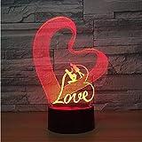 3D Nachtlichter,Fernbedienung Liebe Herz Romantische Lampe 3D Optische Täuschung Tischleuchte Touch Fernbedienung 7 Farben Home Licht Hochzeit Dekor Neuheit Geschenke