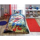 LaModaHome 3-teiliges Bettwäsche-Set für Doppelbett, Einzelbett, weich, farbig, 100% Baumwolle, lizenziert, Schlumpf Blauer Wald, Cartoon-Motiv, Kinder-Pilzhaus, Einzelbett, Spannbetttuch