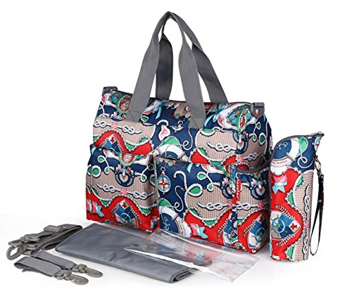 Chilsuessy Baby Wickeltasche Babytasche Pflegetasche mit Wickelunterlage und Flaschenwärmetasche vielen Fächern und Universal Haken als Kinderwagen Befestigung für Reise unterwegs , 3# 6#