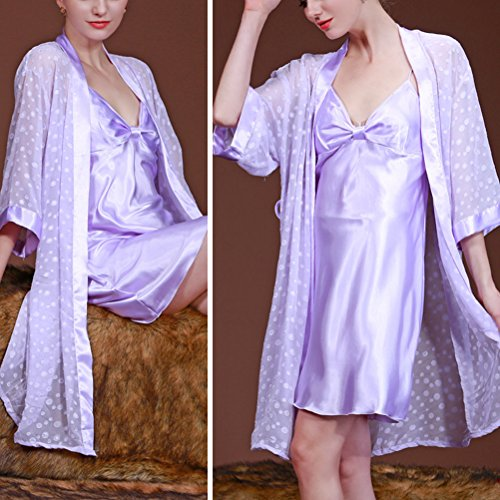 Zhhlaixing Fashion 7711 Women Ladies Long Satin Nightgown and Dressing Gown Set Light Purple