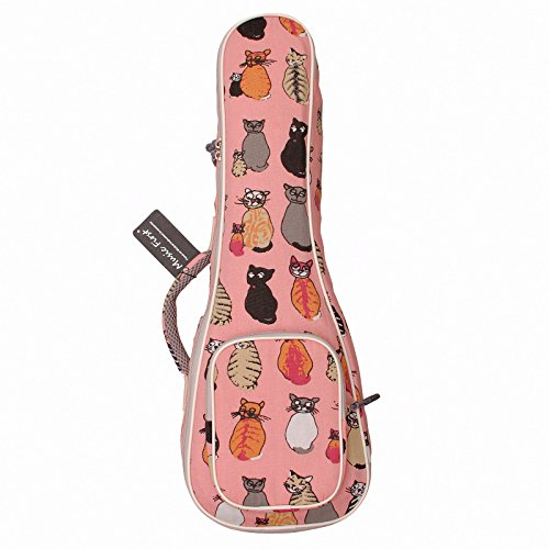 Music First, custodia in cotone per ukulele, motivo 'Miss Cat' 21 inch Soprano MISS CAT