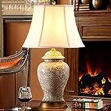William 337 Schlafzimmer Nachttisch Keramik Tischlampe Retro Wohnzimmer Keramik Tischlampe Europäischen und amerikanischen Stil klassischen Schreibtischlampe Alle Kupfer Material Beleuchtung warm