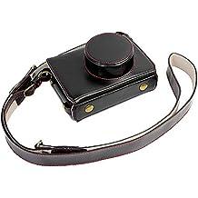 Voller Schutz Bodenöffnung Version Schutz-PU-Leder Kamera Tasche mit Stativ-Design-kompatibel für Fuji Fujifilm X100 x100s X100M x100t mit Schulter-Ansatz-Bügel-Gurt-Schwarz