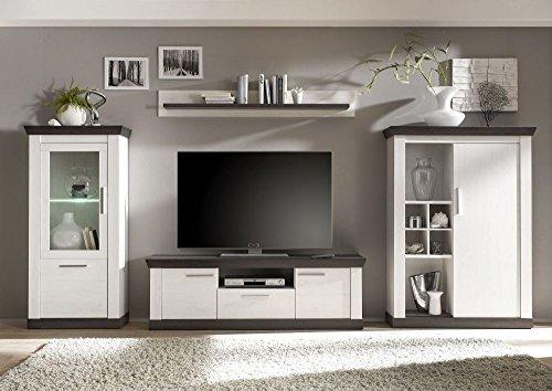 Wohnzimmerwand Pinie weiß Nachbildung, 351cm