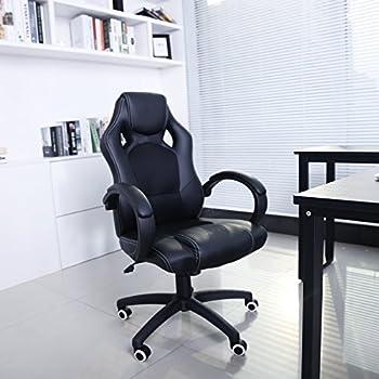 Songmics Fauteuil de bureau Chaise pour ordinateur PU simili cuir 2 roulettes supplémentaires fournies noir OBG56B