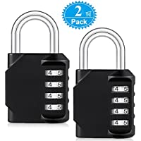 Combination Lock, BeskooHome [2-Pack] Heavy Duty Padlock with 4-Digit Smooth Dial for School, Gym, Sports Bag, Garage, Tool Box, Garden Gate, Outdoor Shed Locker