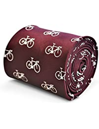 Frederick Thomas Maroon Mens Tie with bicycle pattern