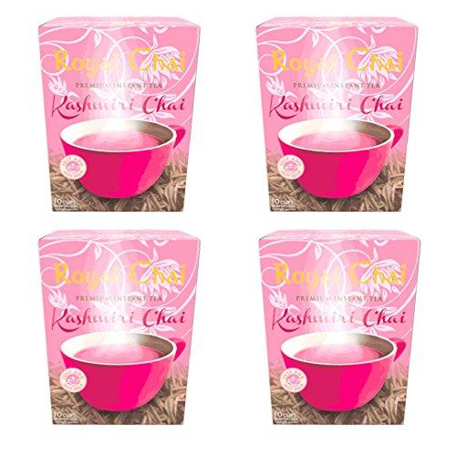 Kashmiri Pink Tea by Royal Chai (Unsweetened) 4 x 140g - Noon Chai Instant Tea Powder (Including Milk Powder) Kashmiri Green Tea and Pistachio Flavour