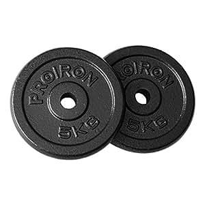 """PROIRON Plaques de Poids de Fonte de Fer 1.25kg, 2.5kg, 5kg, 10kg pour 1""""Barre de poignée d'haltère"""