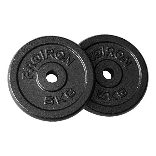 PROIRON Hantelscheiben Set, 10kg, Gusseisen, 2 x 5kg Gewichte, 25mm Bohrung