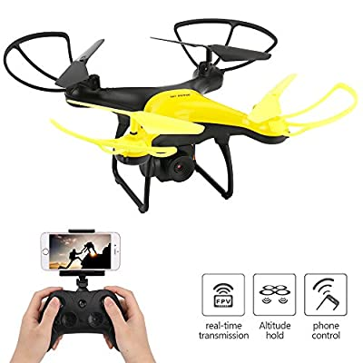 Dwi Dowellin WiFi FPV Drone with 720P HD Tiltable Camera Lens 23mins Long Flight Time RC Quadcopter with Altitude Hold 3D Flips Rolls Trajectory Flight One Key Take Off Landing Return Headless Mode by Dwi Dowellin