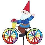 Gnome Gira con el viento. Gnomo de jardín en una bicicleta jardín Spinner