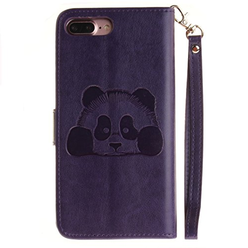 Ekakashop Custodia iphone 7 plus 5.5 inch, Cover iphone 7 plus 2016 model, Elegante borsa Custodia in Pelle Protettiva Flip Portafoglio libro Case Cover per Apple iphone 7 plus 5.5 inch / con Carte Sl Viola