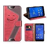 MOBESV Smiley Sony Xperia Z3 Compact Hülle Leder, Sony Xperia Z3 Compact Tasche Lederhülle/Wallet Case/Ledertasche Handyhülle/Schutzhülle für Sony Xperia Z3 Compact, Rot/Dunkel Violett