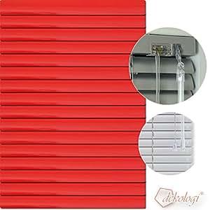 Jalousie store vénitien en aluminium 80 x 100 cm (largeur x hauteur) - 1308 lamellenfarbe rouge, blanc-r? ückseite fabriquées en aluminium stores vénitiens store plissé
