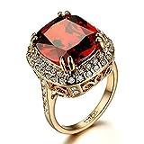 Yoursfs Bague mariage 56mm 18k plaqué Or Solitaire en Diamant de synthèse et Rubis pour Femme ou Homme comme Accessoire ou Cadeau