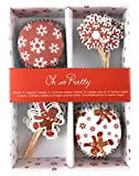Oh so Pretty 48-teiliges Muffin und Cupcake Deko Set Weihnachten – Lebkuchenmann und Schneeflocke