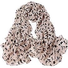 a5b771887909 Samgu Foulard Echarpe Imprimé Chat 160   55CM Chiffon Soie pour Femme  Couleur Kaki et Rose