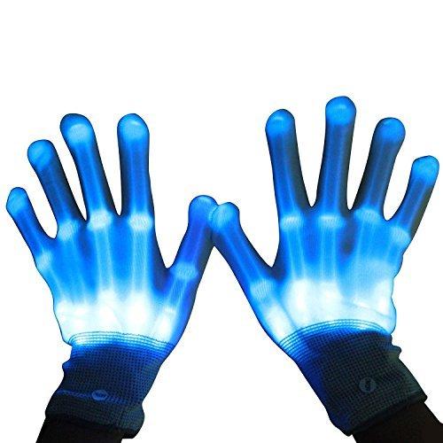 Spielzeug ab 3 - 15 Jahre, DMbaby geburtstagsgeschenk für kinder LED Blinklicht Bunte Rave Handschuhe Blau G11 (Ein Jahr Alte Jungen Halloween Kostüme)