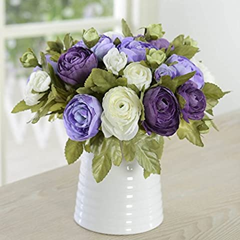 10 Heads Piece Artificial Flower Tea Bud for Home and Wedding without Vase & Basket, 1 Piece of Flower, Purple and