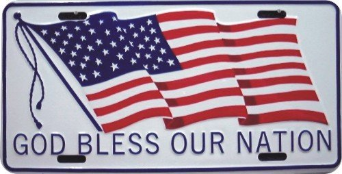 God Bless Our Nation Patriotic Metal License Plate 6 x 12 by HANGTIME