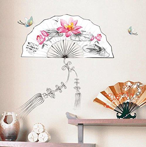 Longless China viento, lotus, ventilador de pared pegatinas decorativas para paredes, salón...