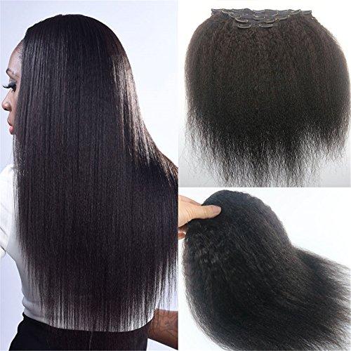 Extension di capelli umani remy, afro americani, neri, con clip, lisci, crespi, 130 grammi, 7 pezzi