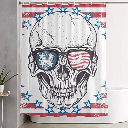 N/a - tenda da doccia in poliestere con bandiera americana e teschio dei pirati, impermeabile, con ganci, 183 x 183 cm