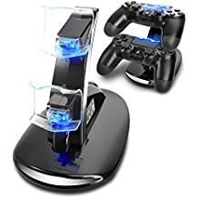 AMANKA Dual USB Charging Charger Dock Station Stand for Playstation 4 Sony PS4 Controller Black with LED light Indicators