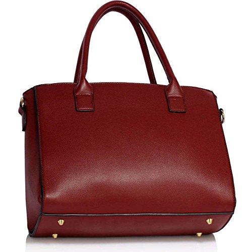 TrendStar Frauen Neuen Entwurfs Handtaschen Damen Leder Schulter Beutel Art Und Weisetote Large Mit Abnehmbarer Tasche (A - Burgund) A - Burgund
