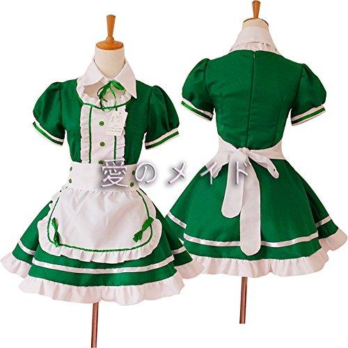 Cosplay Zofenkleid japanischen Anime Kostüme Restaurant Maid Grün (Cosplay Japanische Maid Kostüme)