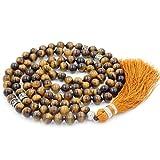 Collier de Perles de Mala, Mala Beads Bracelet, Les chapelets bouddhistes Collier, Tassel Collier, Tiger Eyes Stone Mala