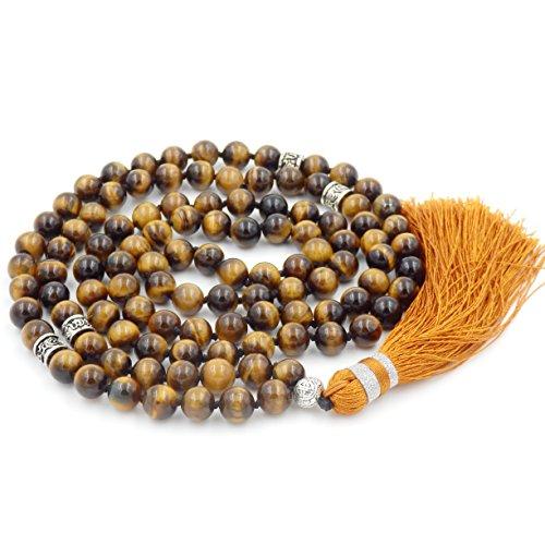 Collana di perline mala, perline mala braccialetto, rosario buddista collana, tassel collana (tigre occhio stone) …