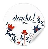 24 selbstklebende - Danke - Etiketten WEISS, vielseitige runde Dankeschön Sticker im Vintage Blumen Design, matte Papieraufkleber, für Gastgeschenke, Hochzeit, Taufe, Geburtstag oder Muttertag