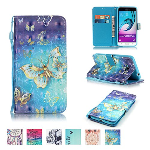 Galaxy J3 2015 Fall, Firefish [Ständer] [stoßfest] Doppelt Schutzhülle Flip Folio Slim Magnetisches Cover mit Handschlaufe für Samsung Galaxy J3 2015 Samsung Galaxy J3 2015 Schmetterling - Wireless Dock Audio Samsung