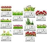 Decor Villa Red Flower and Grass Switch Board & Wall Sticker (PVC Vinyl,Size- 35 cm x 38 cm)-Set of 10
