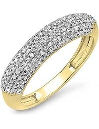 0.10 Carat (ctw) 14 ct Yellow Gold Round Diamond Ladies Wedding Band 1/10 CT