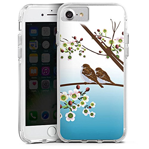 Apple iPhone 8 Bumper Hülle Bumper Case Glitzer Hülle Spatz Voegel Birds Bumper Case transparent