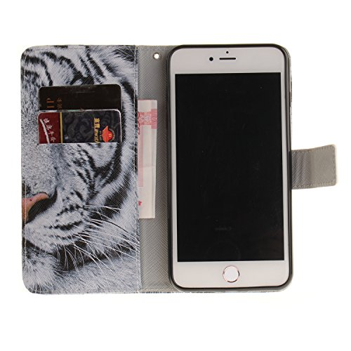 Apple iPhone 4/4S ultrasottile in pelle sintetica in stile, Gocdlj telefono cellulare custodia per iPhone 4/4S telefono cellulare sottile custodia protettiva antigraffio bumper cover in pelle pieno di White Tiger