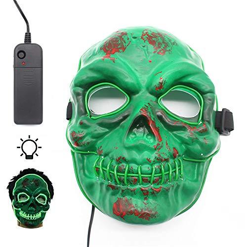 Oxsaytee led maschera di halloween, costume da teschio spaventoso illumina la maschera, maschera che cresce per halloween party party