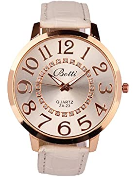 FEITONG Mode Damenuhr Einzigartig Ziffern Goldene Dial Kunstleder Analoge Quarz Armbanduhr Weiß Uhren