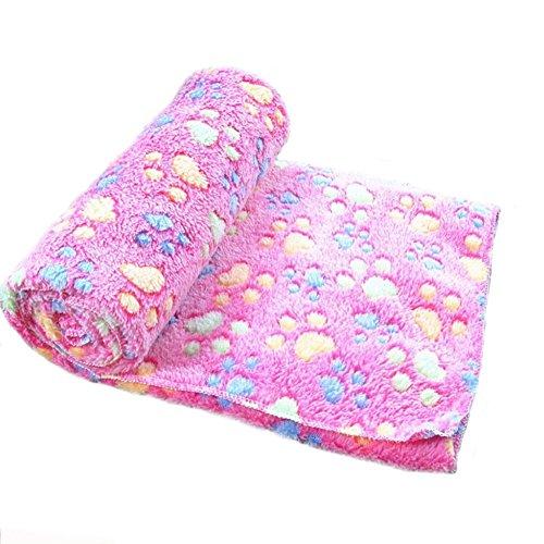 Westeng weiche, warme Fleece-Decke für Hund/Katze, Motiv: Pfotendruck, Doppelseitiger Samt1 Stück (100 x 80 cm, Rosa) -