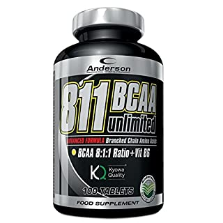 Anderson 811BCAA Unlimited Kyowa, Supplement, Branched-Chain Amino Acids 811with Vitamin B6, 100Tablets 1.2g