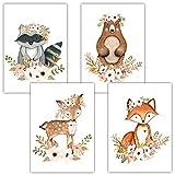 Frechdax® 4er Set Kinderzimmer Babyzimmer Poster Bilder DIN A4 | Mädchen Junge Deko | Dekoration Kinderzimmer | Waldtiere Safari Skandinavisch (4er Set Waschbär, Bär, Fuchs, REH)