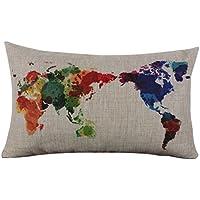 Fundas de Cojines, LILICAT Lienzo Rectangular del Mapa del Mundo Funda de almohada, Lanzar Lino Decorativo Home Funda de Cojín para Sofá (30x50cm, Beige)