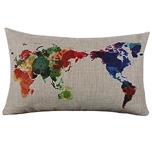 Fundas de Cojines, LILICAT Lienzo Rectangular del Mapa del Mundo Funda de almohada, Lanzar Lino Decorativo Home Funda de Cojín para Sofá